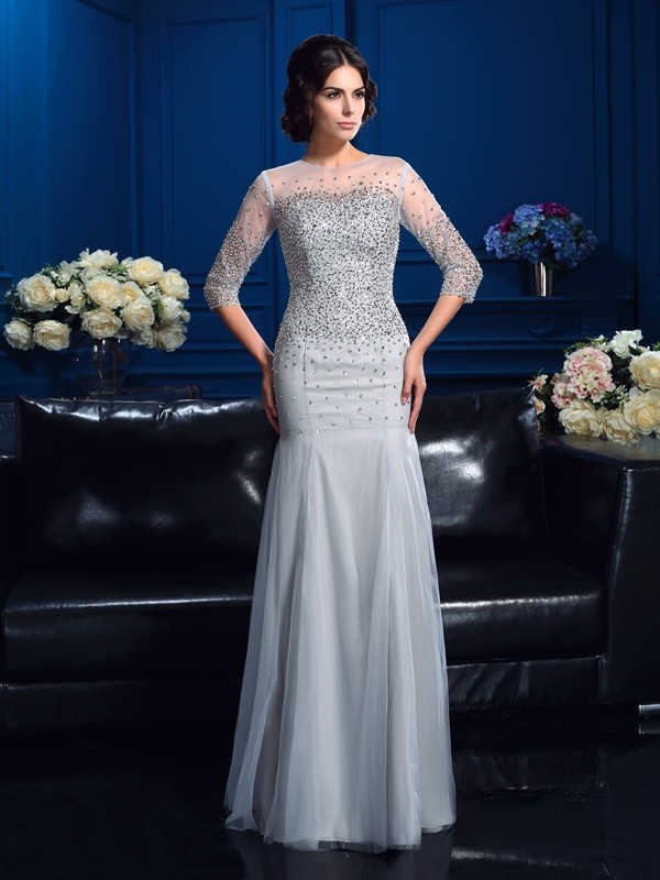 Sheath Scoop Beading 3/4 Sleeves Long Net Mother of the Bride Dresses