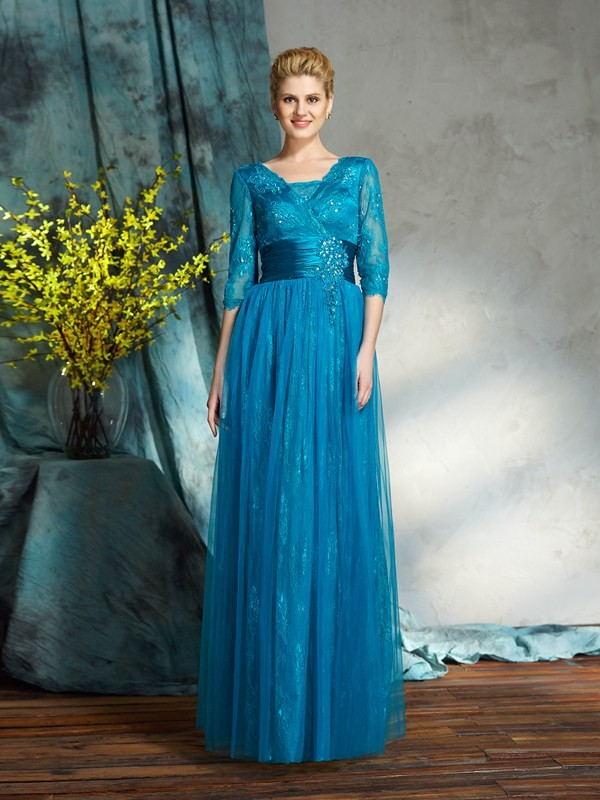 A-Line V-neck Applique 3/4 Sleeves Long Net Mother of the Bride Dresses