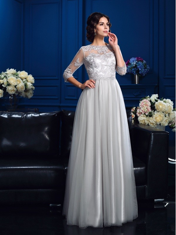 A-Line Scoop Applique 3/4 Sleeves Long Elastic Woven Satin Mother of the Bride Dresses