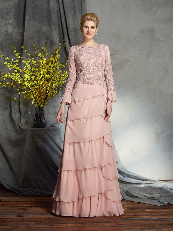Sheath Scoop Ruffles Long Sleeves Long Chiffon Mother of the Bride Dresses