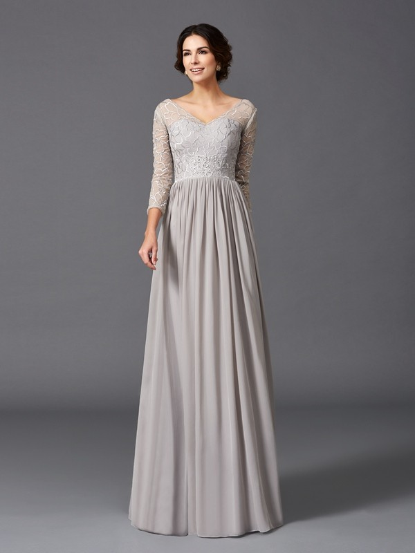 A-Line V-neck Ruffles 3/4 Sleeves Long Chiffon Mother of the Bride Dresses