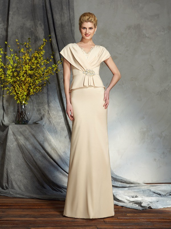 Sheath V-neck Beading Short Sleeves Long Silk like Satin Mother of the Bride Dresses
