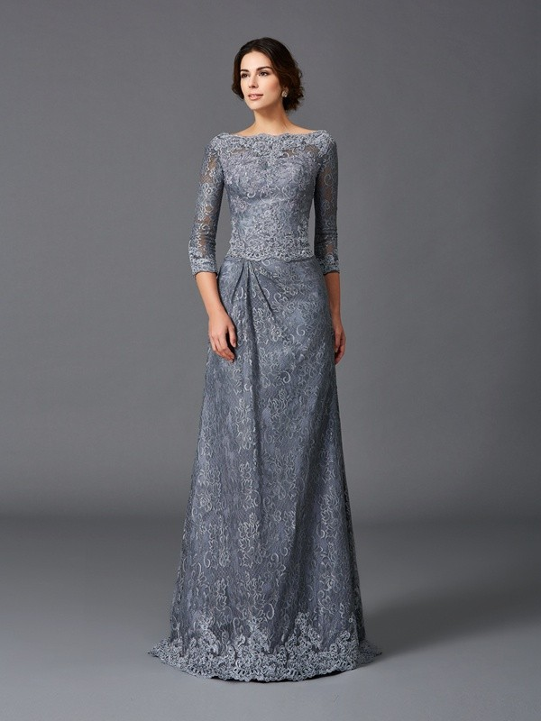 A-Line Bateau Lace 3/4 Sleeves Long Net Mother of the Bride Dresses