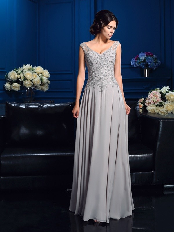 A-Line V-neck Beading Sleeveless Long Chiffon Mother of the Bride Dresses