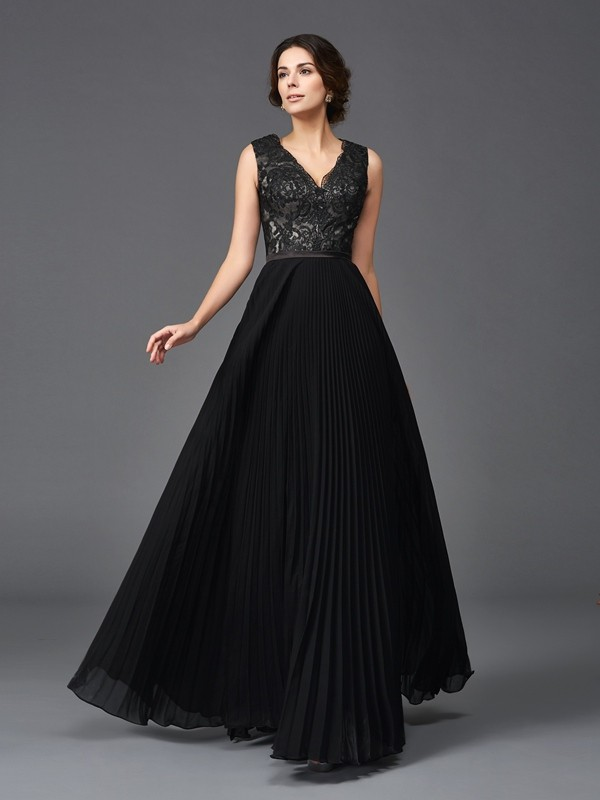 A-Line V-neck Lace Sleeveless Long Chiffon Mother of the Bride Dresses