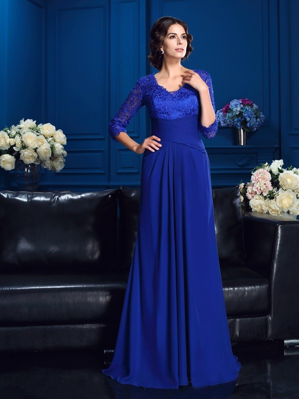 A-Line V-neck Applique 3/4 Sleeves Long Chiffon Mother of the Bride Dresses