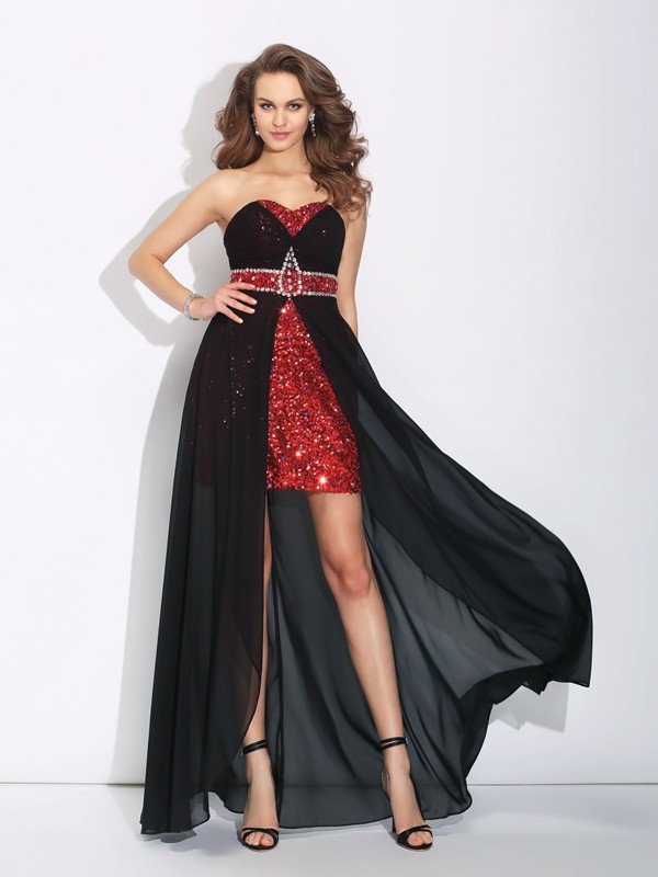 A-Line Sweetheart Sequin Sleeveless High Low Chiffon Dresses