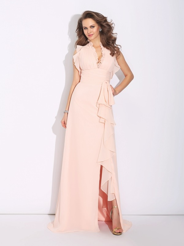 A-Line High Neck Ruffles Sleeveless Long Chiffon Dresses