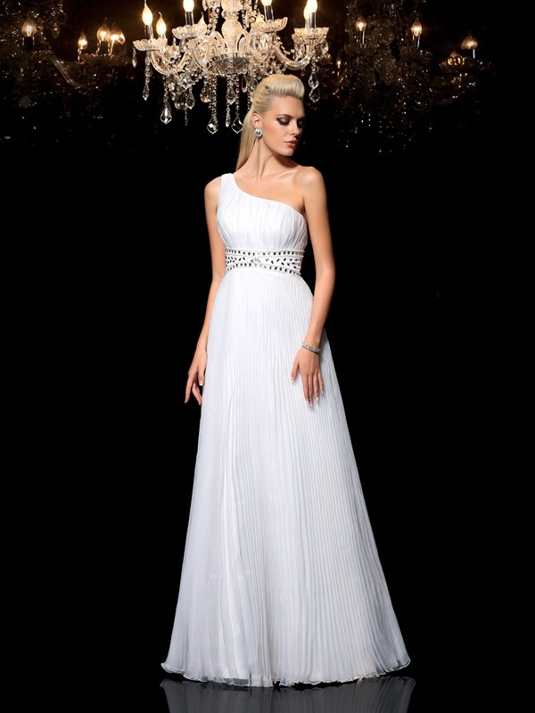 A-Line One-Shoulder Beading Sleeveless Long Organza Dresses