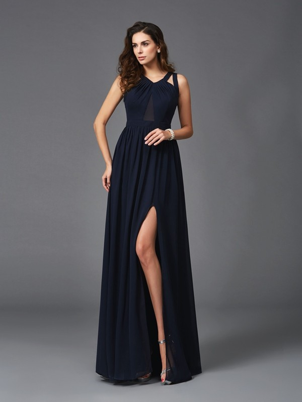 A-Line Straps Sleeveless Long Chiffon Dresses