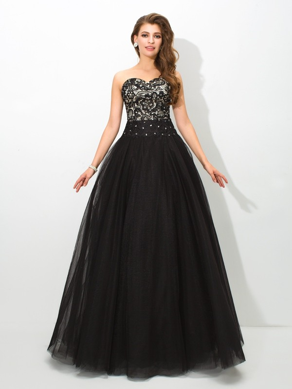 Ball Gown Sweetheart Lace Sleeveless Long Net Debs Dress