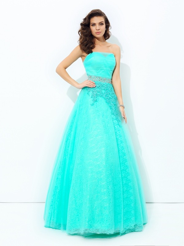 A-Line Strapless Beading Sleeveless Long Elastic Woven Satin Dresses