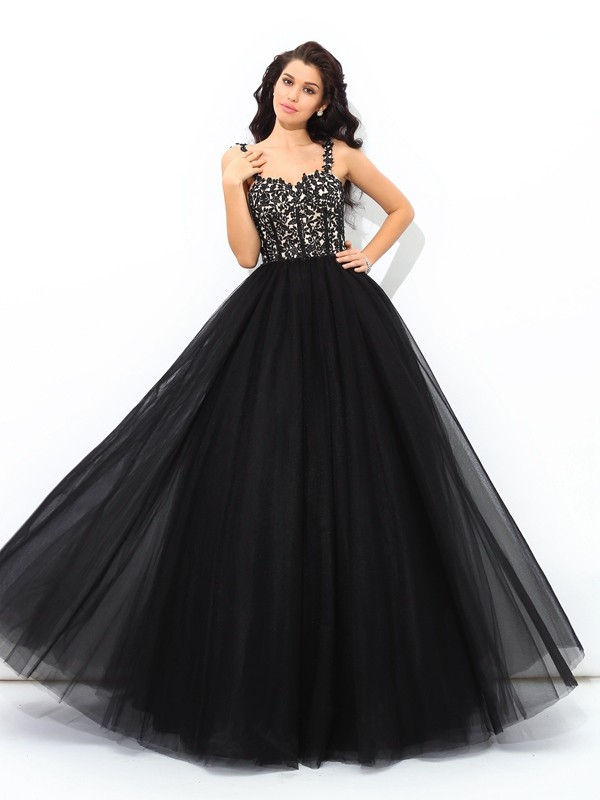 Ball Gown Straps Applique Sleeveless Long Net Debs Dress