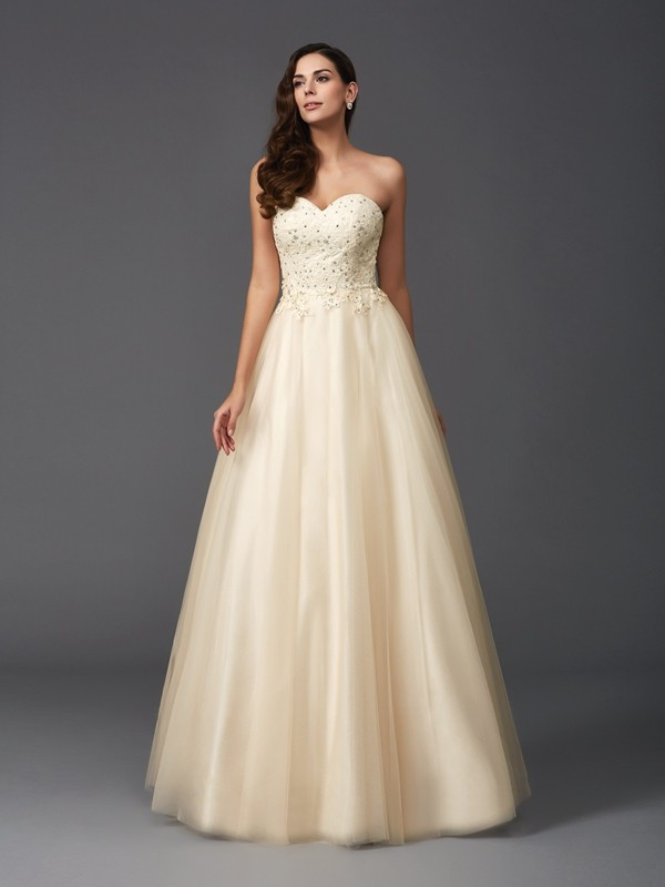 A-Line Sweetheart Beading Sleeveless Long Net Dresses