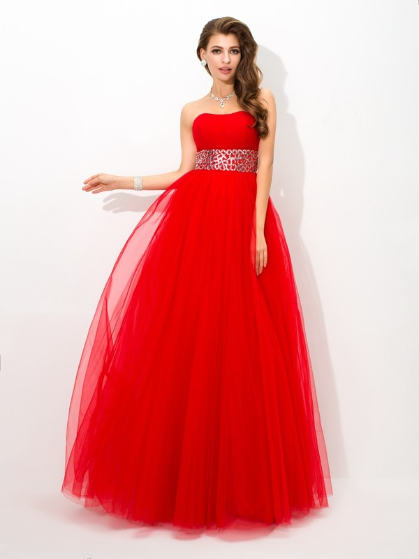 Ball Gown Strapless Beading Sleeveless Long Net Debs Dress