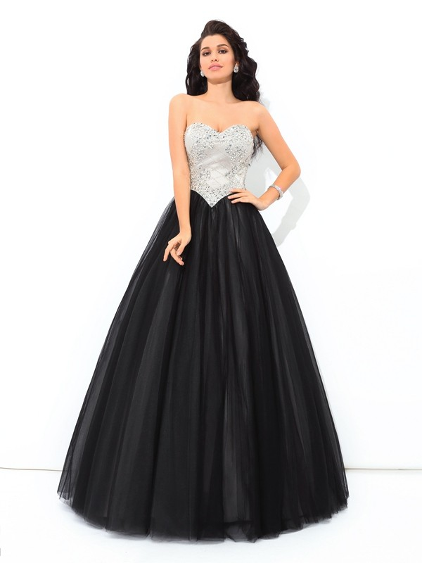 Ball Gown Sweetheart Paillette Sleeveless Long Net Debs Dress