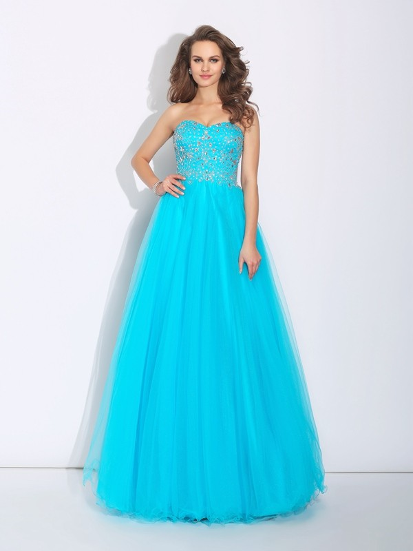 A-Line Sweetheart Rhinestone Sleeveless Long Satin Dresses