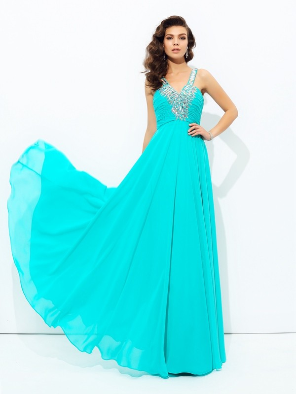 A-Line V-neck Paillette Sleeveless Long Chiffon Dresses