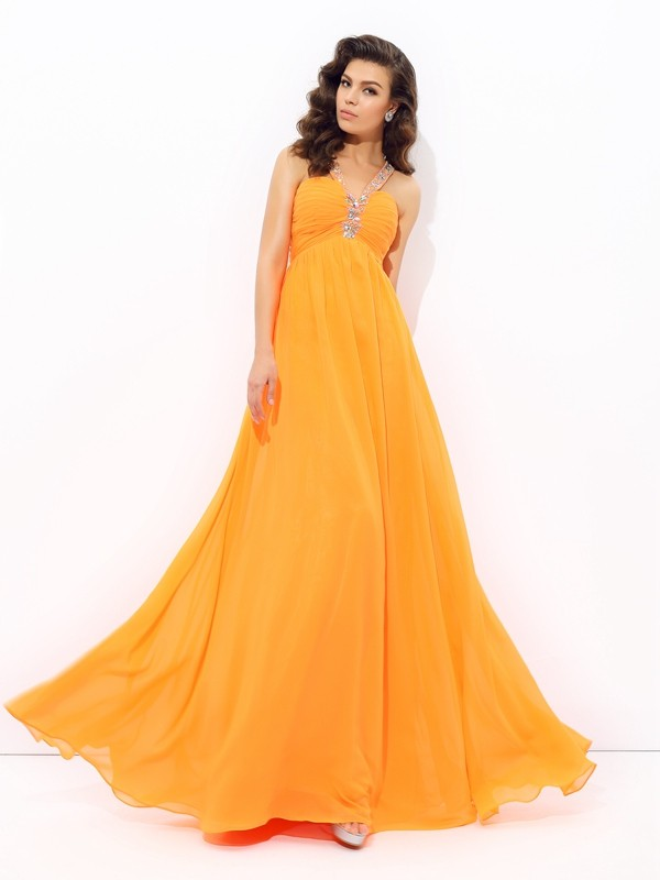 A-Line V-neck Rhinestone Sleeveless Long Chiffon Dresses