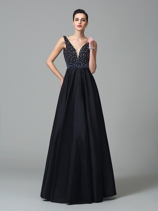 A-Line Straps Beading Sleeveless Long Taffeta Dresses