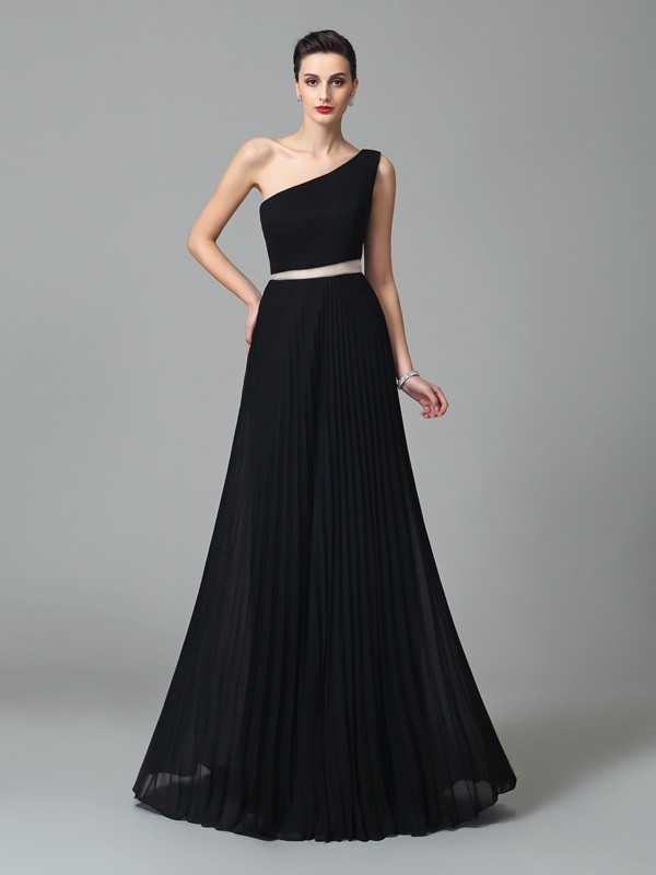 A-Line One-Shoulder Pleats Sleeveless Long Chiffon Dresses