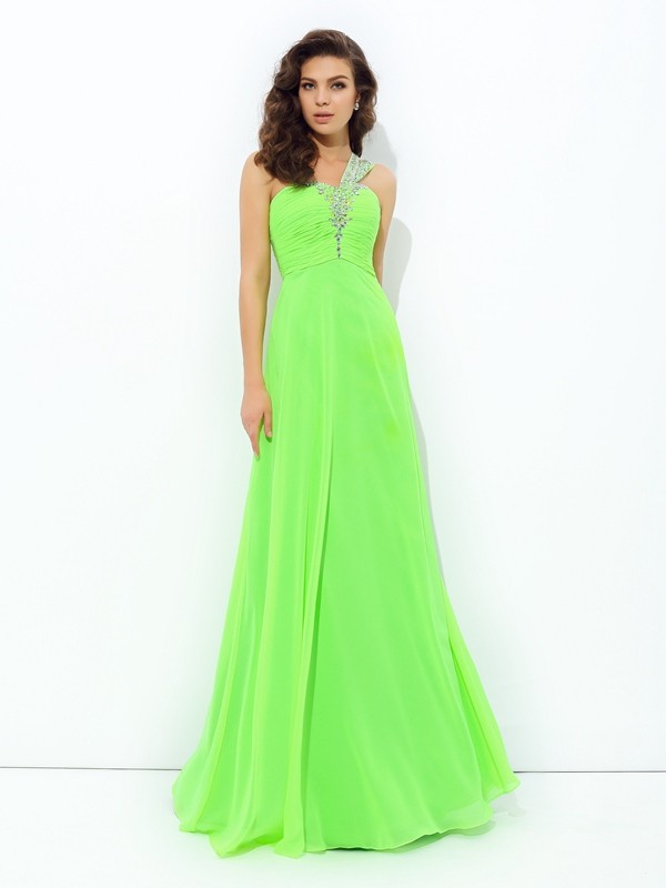 A-Line One-Shoulder Rhinestone Sleeveless Long Chiffon Dresses