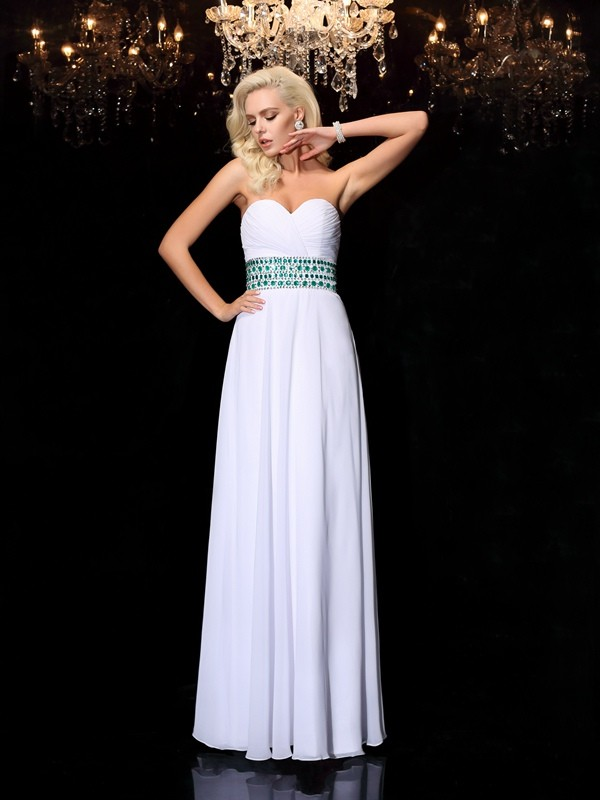 A-Line Sweetheart Rhinestone Sleeveless Long Chiffon Dresses