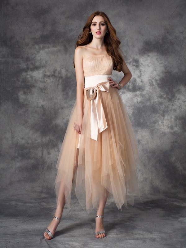 A-Line Strapless Bowknot Sleeveless Long Elastic Woven Satin Dresses