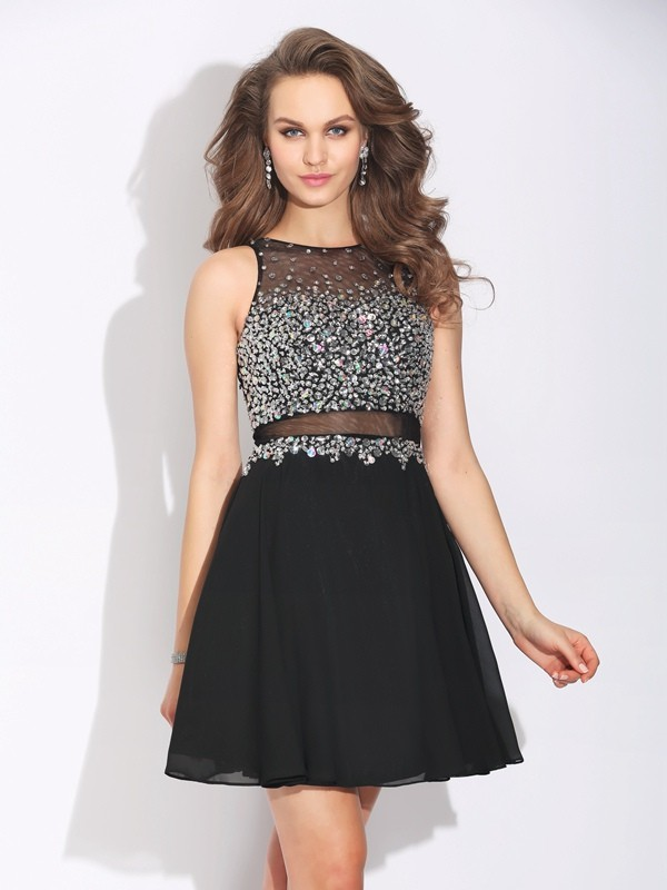 A-Line Jewel Beading Sleeveless Short Chiffon Dresses