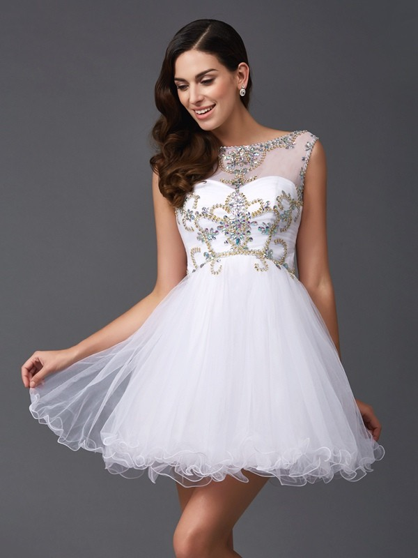 A-Line Scoop Beading Sleeveless Short Net Dresses
