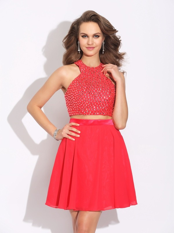 A-Line Jewel Crystal Sleeveless Short Chiffon Two Piece Dresses