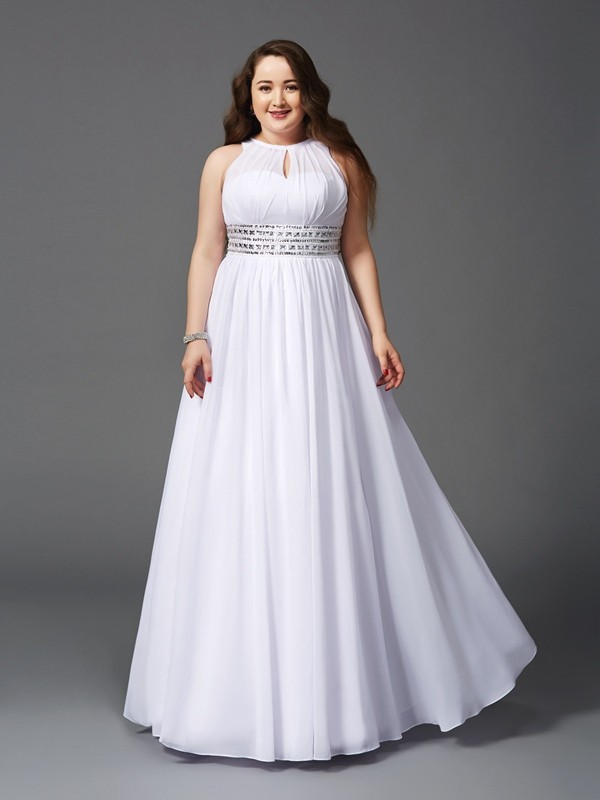 A-Line Jewel Beading Sleeveless Long Chiffon Plus Size Dresses