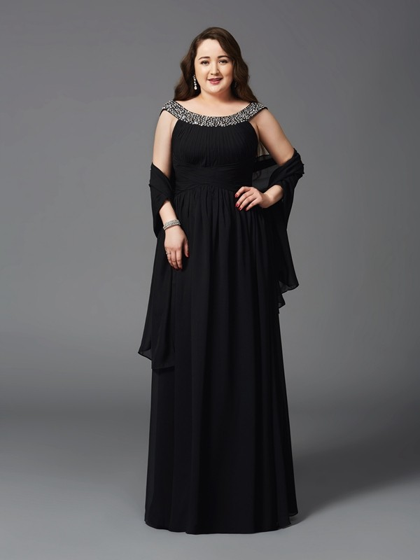 A-Line Scoop Rhinestone Sleeveless Long Chiffon Plus Size Dresses