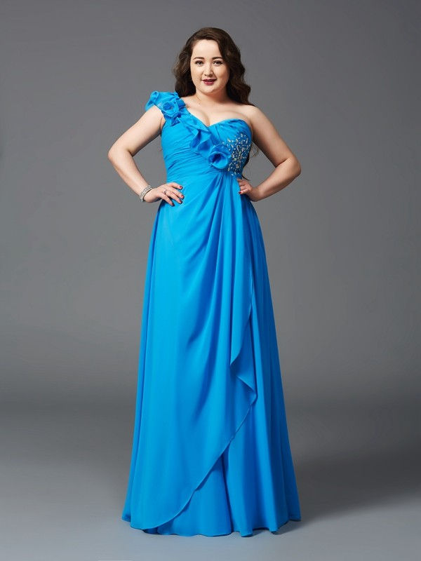 A-Line One-Shoulder Rhinestone Sleeveless Long Chiffon Plus Size Dresses