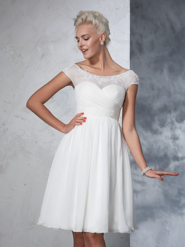 A-Line Sheer Neck Ruched Short Sleeves Short Chiffon Wedding Dresses