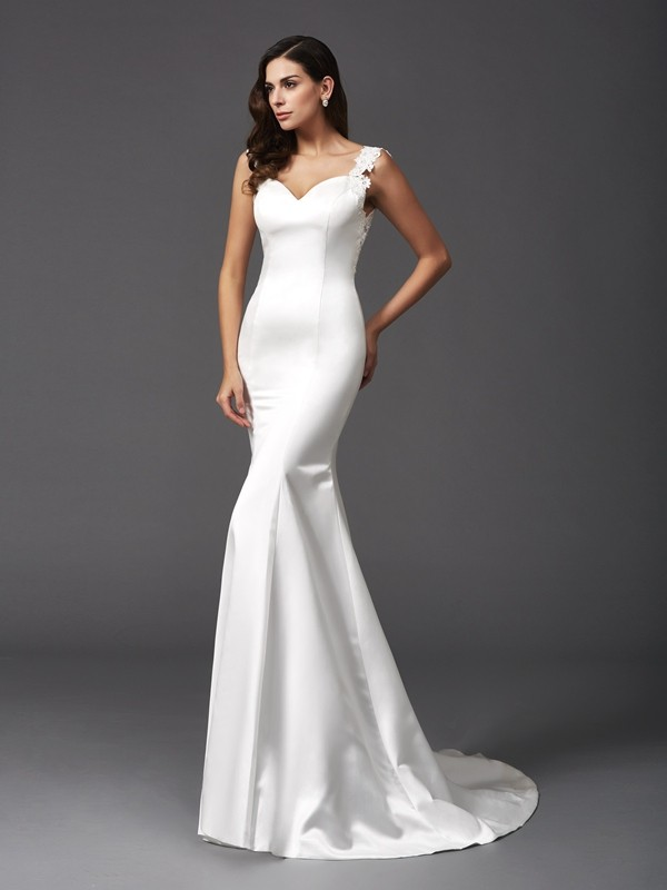 Mermaid Straps Beading Sleeveless Long Satin Wedding Dresses