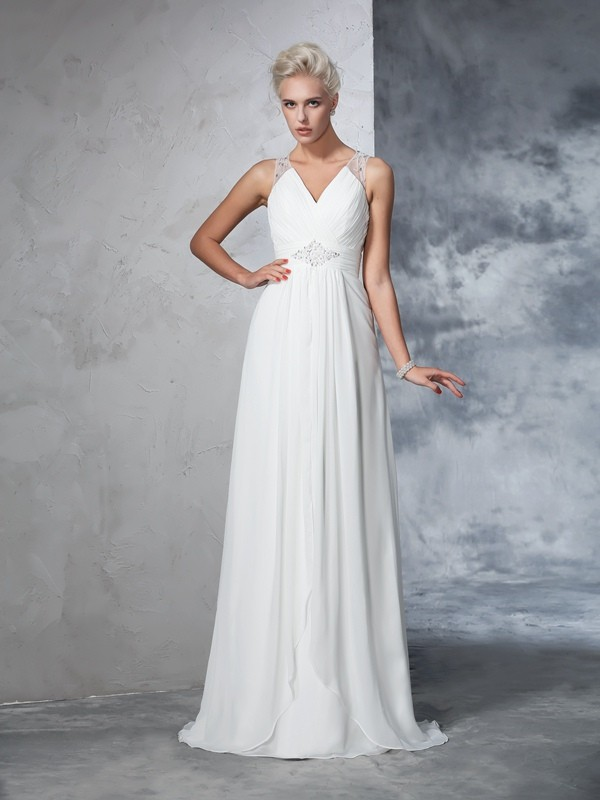 A-Line V-neck Ruched Sleeveless Long Chiffon Wedding Dresses
