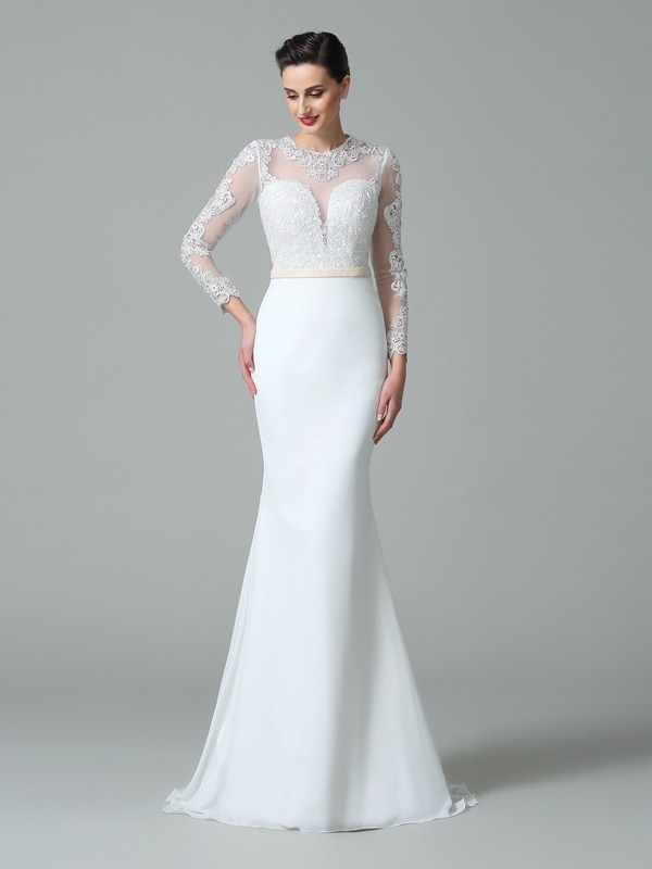 Mermaid Jewel Lace Long Sleeves Long Satin Wedding Dresses