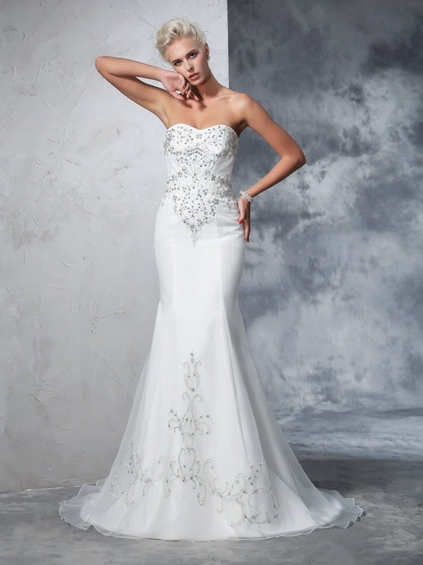 Mermaid Sweetheart Beading Sleeveless Long Satin Wedding Dresses