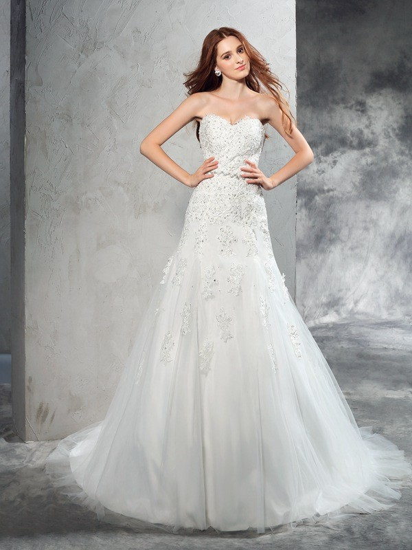 Sheath Sweetheart Applique Sleeveless Long Satin Wedding Dresses