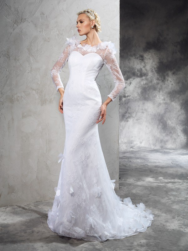 Sheath Sheer Neck Hand-Made Flower Long Sleeves Long Satin Wedding Dresses