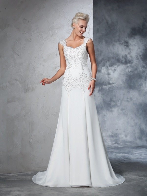 A-Line Straps Beading Sleeveless Long Chiffon Wedding Dresses