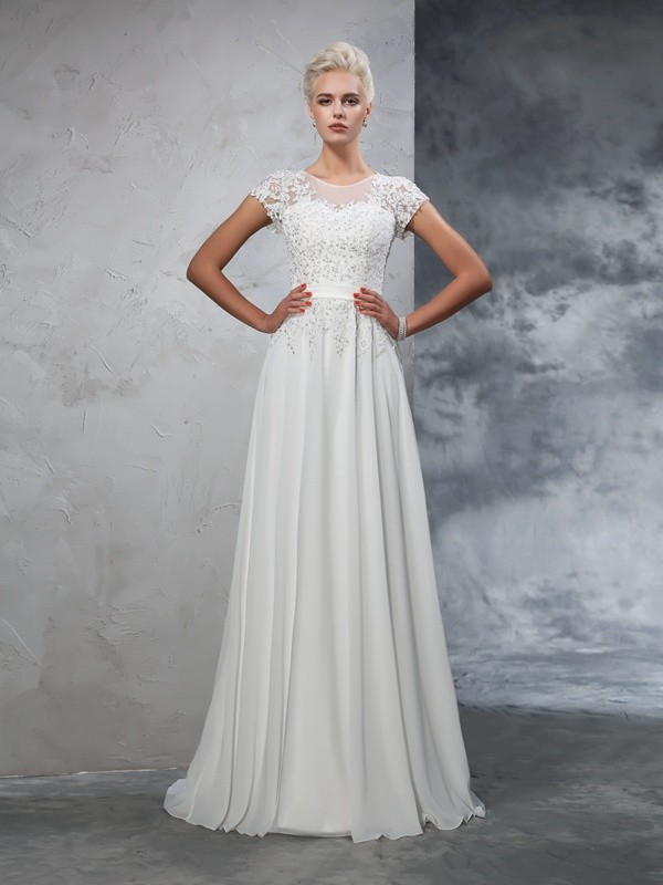 A-Line Sheer Neck Applique Short Sleeves Long Chiffon Wedding Dresses