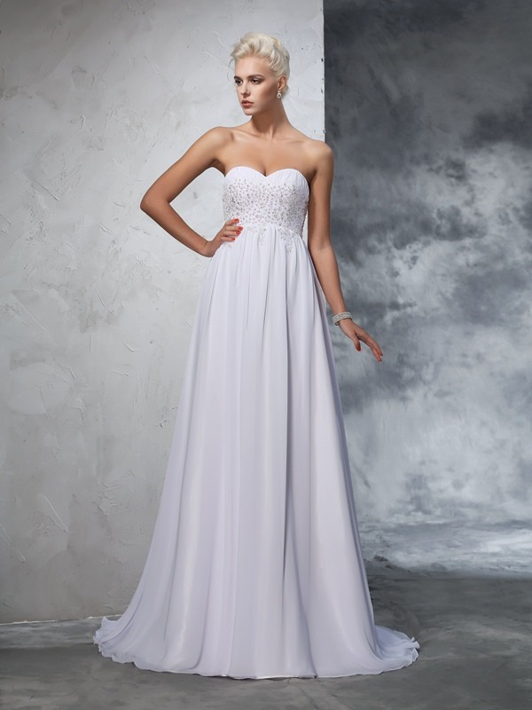A-Line Sweetheart Beading Sleeveless Long Chiffon Wedding Dresses