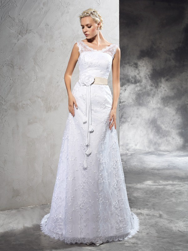 Sheath Sheer Neck Hand-Made Flower Sleeveless Long Satin Wedding Dresses