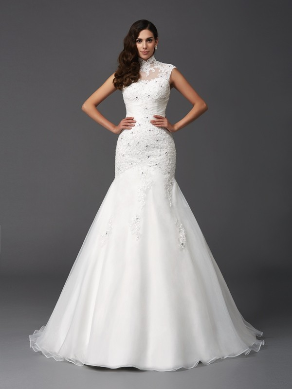 Mermaid High Neck Beading Sleeveless Long Organza Wedding Dresses