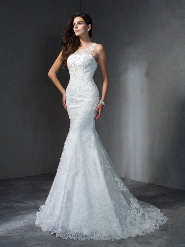 Mermaid Scoop Applique Sleeveless Long Lace Wedding Dresses