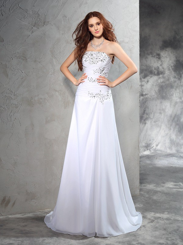 Sheath Strapless Beading Sleeveless Long Chiffon Wedding Dresses