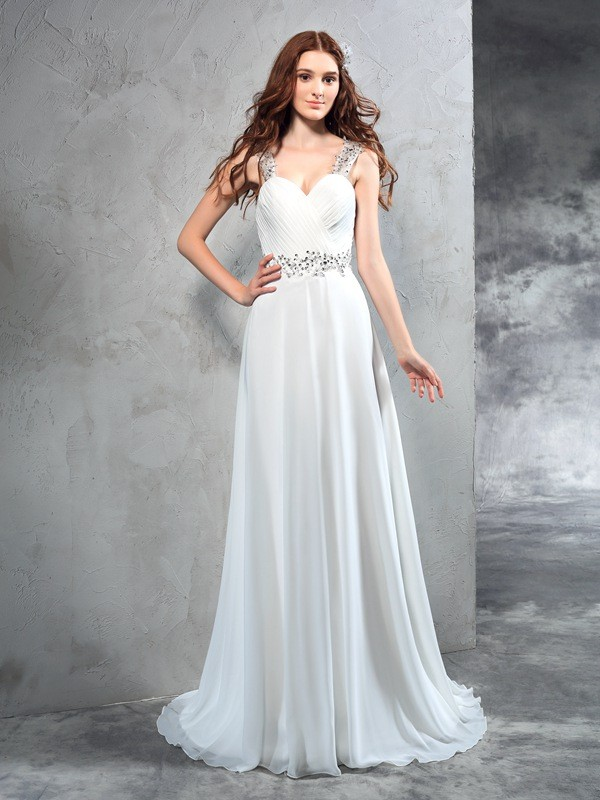 A-Line Sweetheart Pleats Sleeveless Long Chiffon Wedding Dresses
