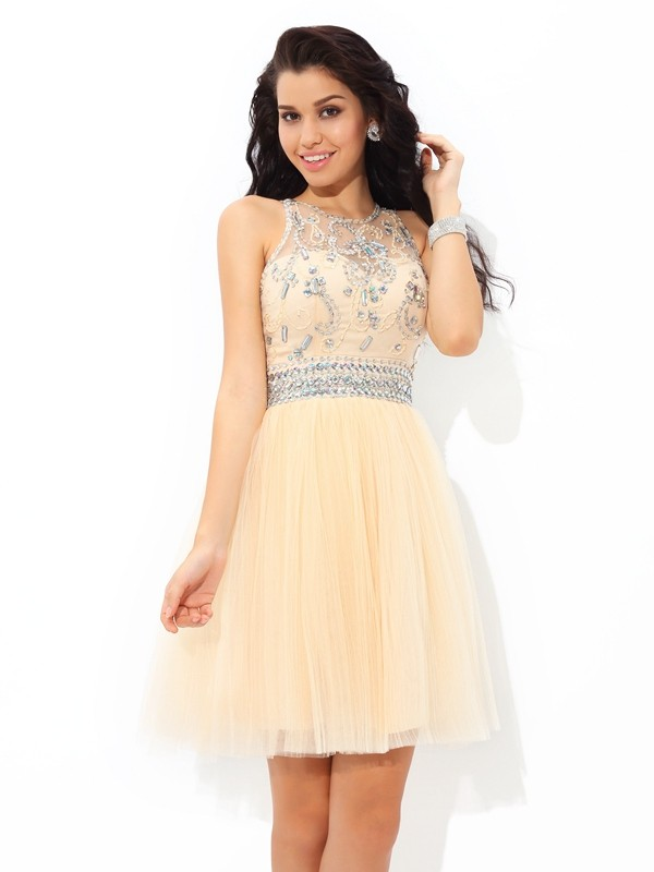 A-Line Sheer Neck Beading Sleeveless Short Net Cocktail Dresses
